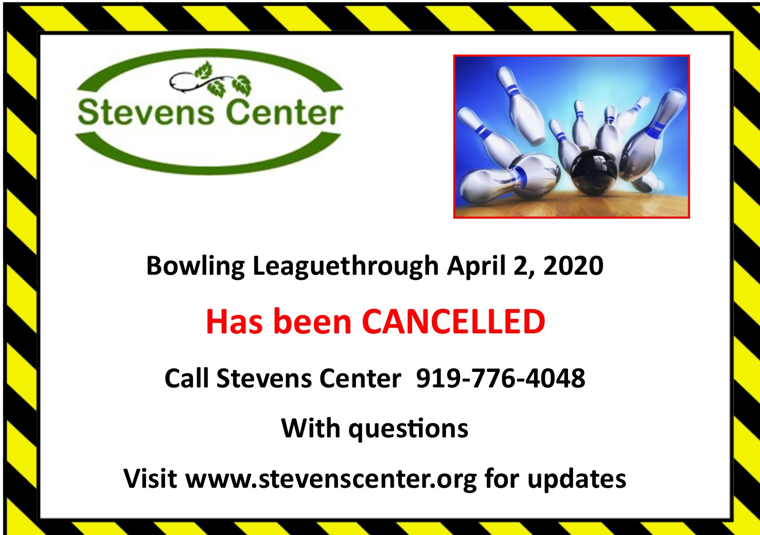 Bowling League cancelled